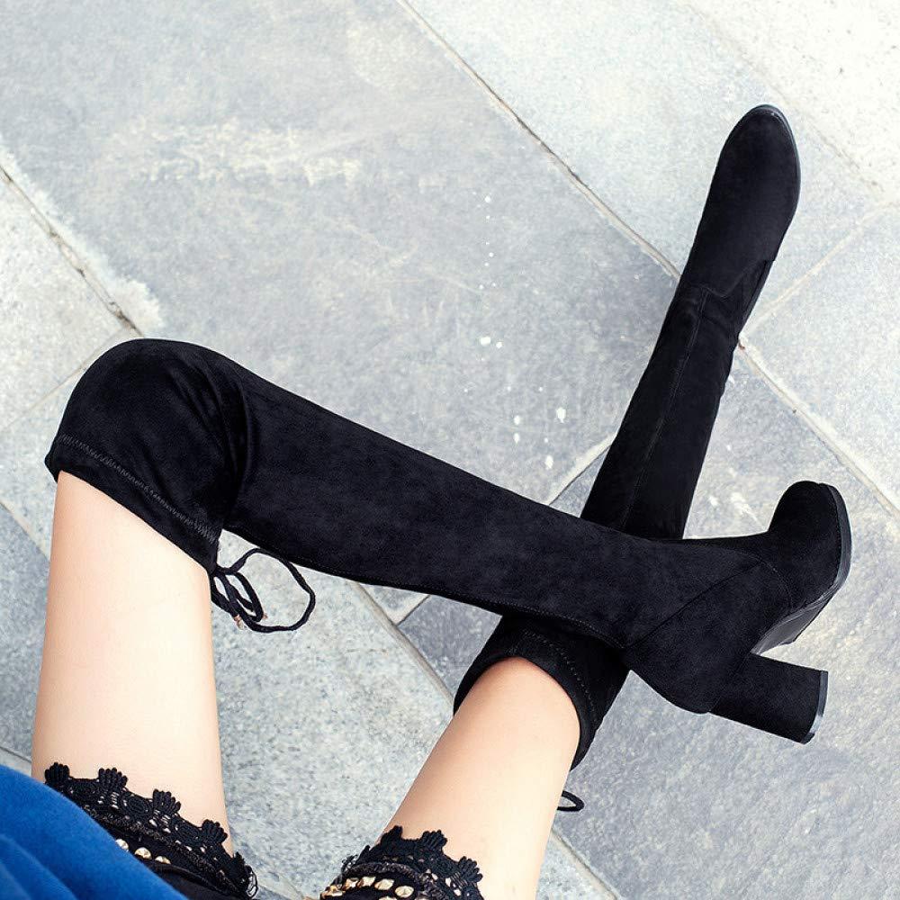 ZPFMM Damen Sexy Hohe Stiefel Overknees Oberschenkel Oberschenkel Oberschenkel Hoch Damen Buro Plattform Mid Heel Schnürsenkel Stiefeletten dfeedd