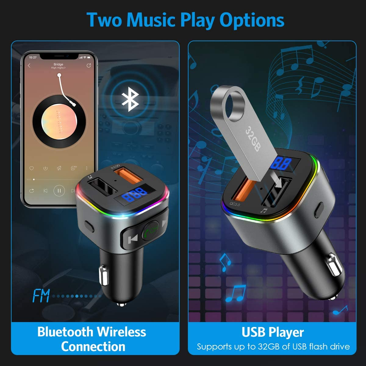 V5.0 Bluetooth FM Transmitter for Car 2020 Upgraded New Bluetooth Car Adapter QC3.0 Dual USB Ports Ridao Adaprer Support USB Drive 7 RGB LED Backlit Music Player Car Kit with Hands-Free Calling