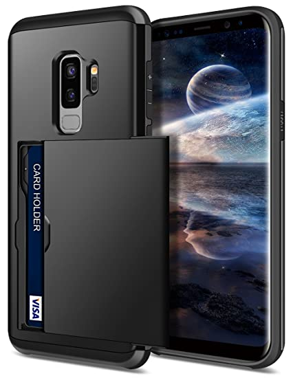 best authentic 55db2 8453b SAMONPOW Galaxy S9 Plus Case,Hybrid S9+ Plus Wallet Case Card Holder Shell  Heavy Duty Protection Shockproof Anti-Scratch Soft Rubber Bumper Cover for  ...