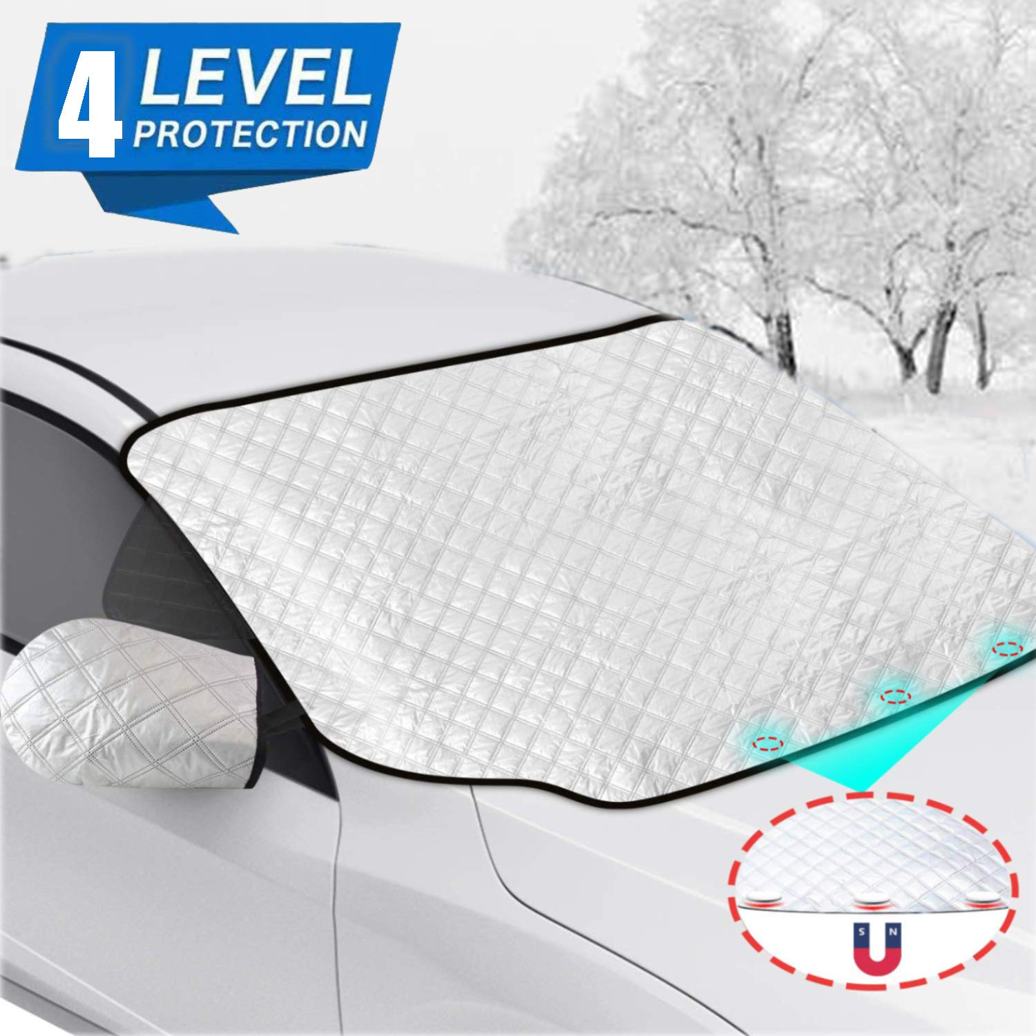 PAUTO-P Car Windshield Snow Cover,Car Windshield Snow Ice Cover with 4 Layers Protection,Snow,Ice,UV,Frost Defense,Extra Large Windshield Winter Cover Fits Most Cars and SUV