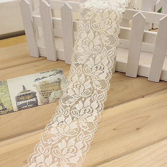 Cinta elástica de encaje, estilo vintage, cinta de encaje para novia, boda, festoneado, decoración de ropa, manualidades, 99,85 x 6,35 cm Tamaño libre ...