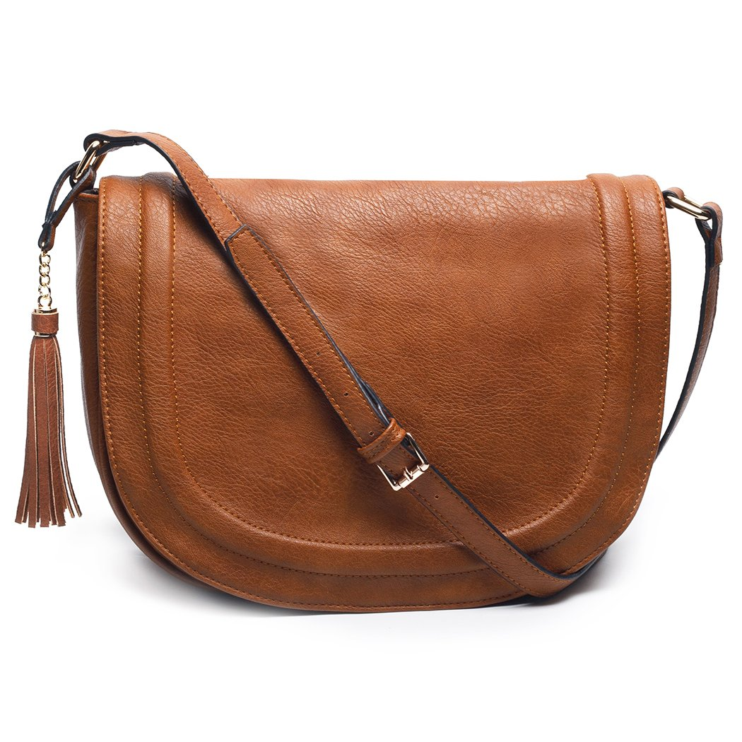 Women's Large Saddle Bag Shoulder Crossbody Bags with Flap Top & Tassel by AMELIE GALANTI
