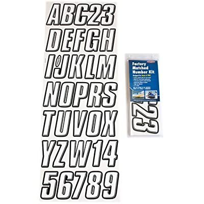 Hardline Products WHBLK800 White/Black Series 800 Factory Matched 3-Inch Boat & PWC Registration Number Kit: Automotive [5Bkhe1010962]