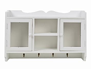 TS Ideen Landhaus Stil Küchenschrank Küchenregal Wand Hänge Schrank Regal  In Weiß