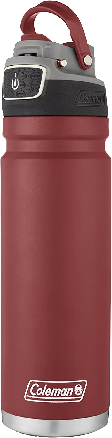 Coleman FreeFlow Autoseal Water Bottle 40oz Heritage Red Stainless Steel Sport