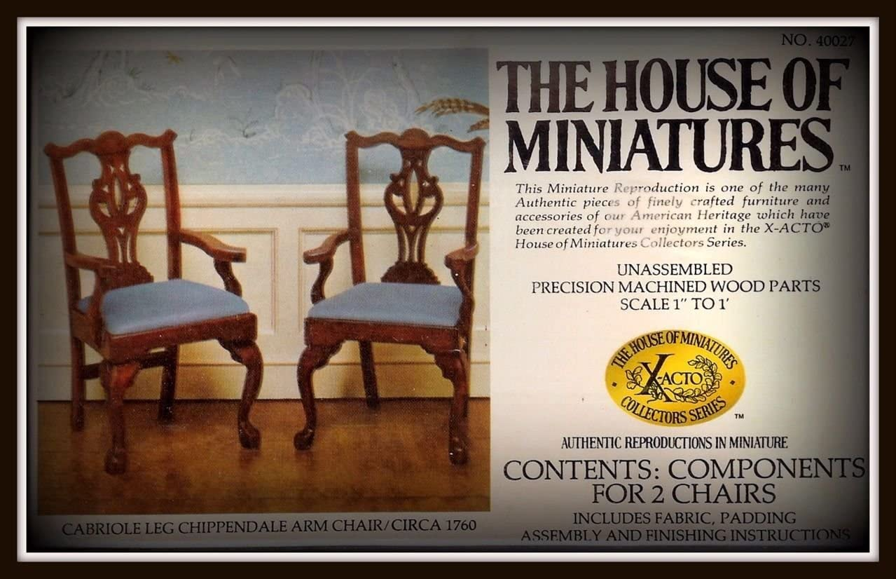 The House of Miniatures Cabriole Leg Chippendale Arm Chairs - Set of 2 #40027 (C. 1760)