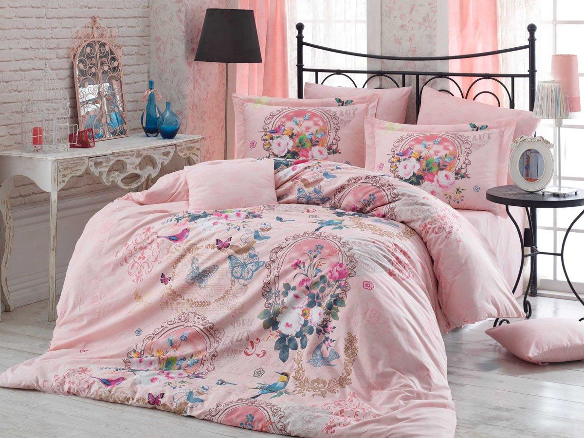 100% Cotton Comforter Set Full Size Floral Pink Birds & Flowers Bedding Set