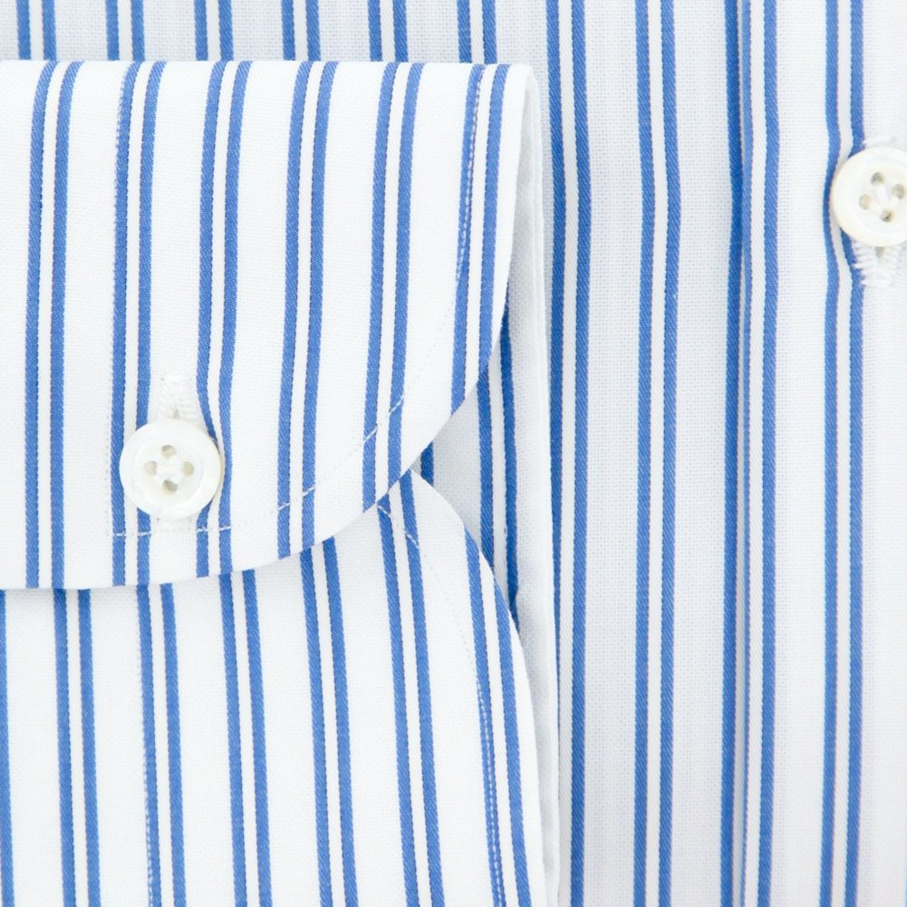 New Luigi Borrelli Blue Striped Extra Slim Shirt