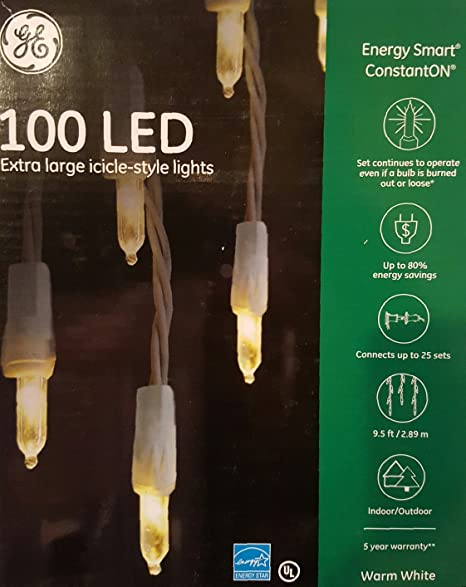GE 100 Count LED Mini White Christmas Icicle String Lights   White Wire