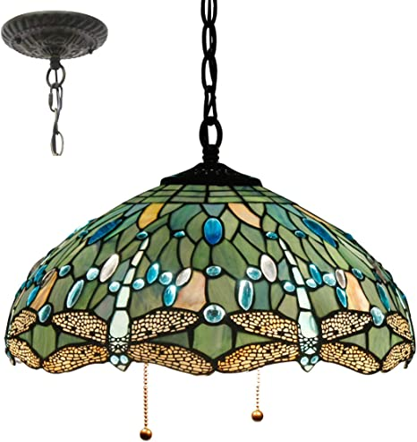 Amazon Com Tiffany Style Hanging Lamp W16h40 Inch Sea Blue Stained Glass Shade Crystal Bead Dragonfly Chandelier Light Ceiling Fixture S147 Werfactory Dining Living Room Bedroom Study Coffee Bar Hallway Loft Home Improvement