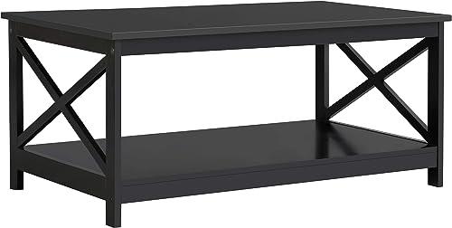 YAHEETECH Wood 2-Tier Black Coffee Table