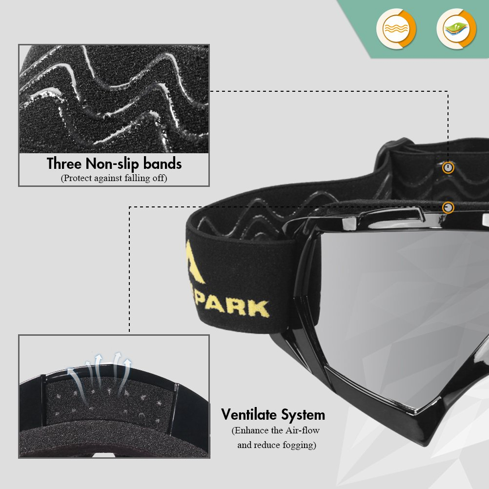 AULLY PARK Motorcycle Goggles, Dirt Bike Goggles Grip For Helmet, ATV Motocross Mx Goggles Glasses with 3 Lens Kit Fit for Men Women Youth Kids by AULLY PARK (Image #3)