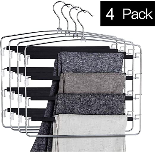 Bloberey Pants Hangers 5 Layers Metal Slack Magic Hangers Non-Slip Foam Padded Swing Arm Space Saving Hanger Clothes Closet Storage Organizer for Pants Jeans Trousers Skirts Scarf Ties Towels