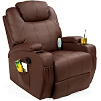 caesar 10 in 1 winged recliner chair rocking massage swivel heated gaming bonded leather armchair