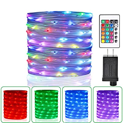 HAHOME 33Ft 100 LEDs Plug In Rope Lights Waterproof Color Changing Fairy String Lights with Remote for Indoor Outdoor Use: Home Improvement