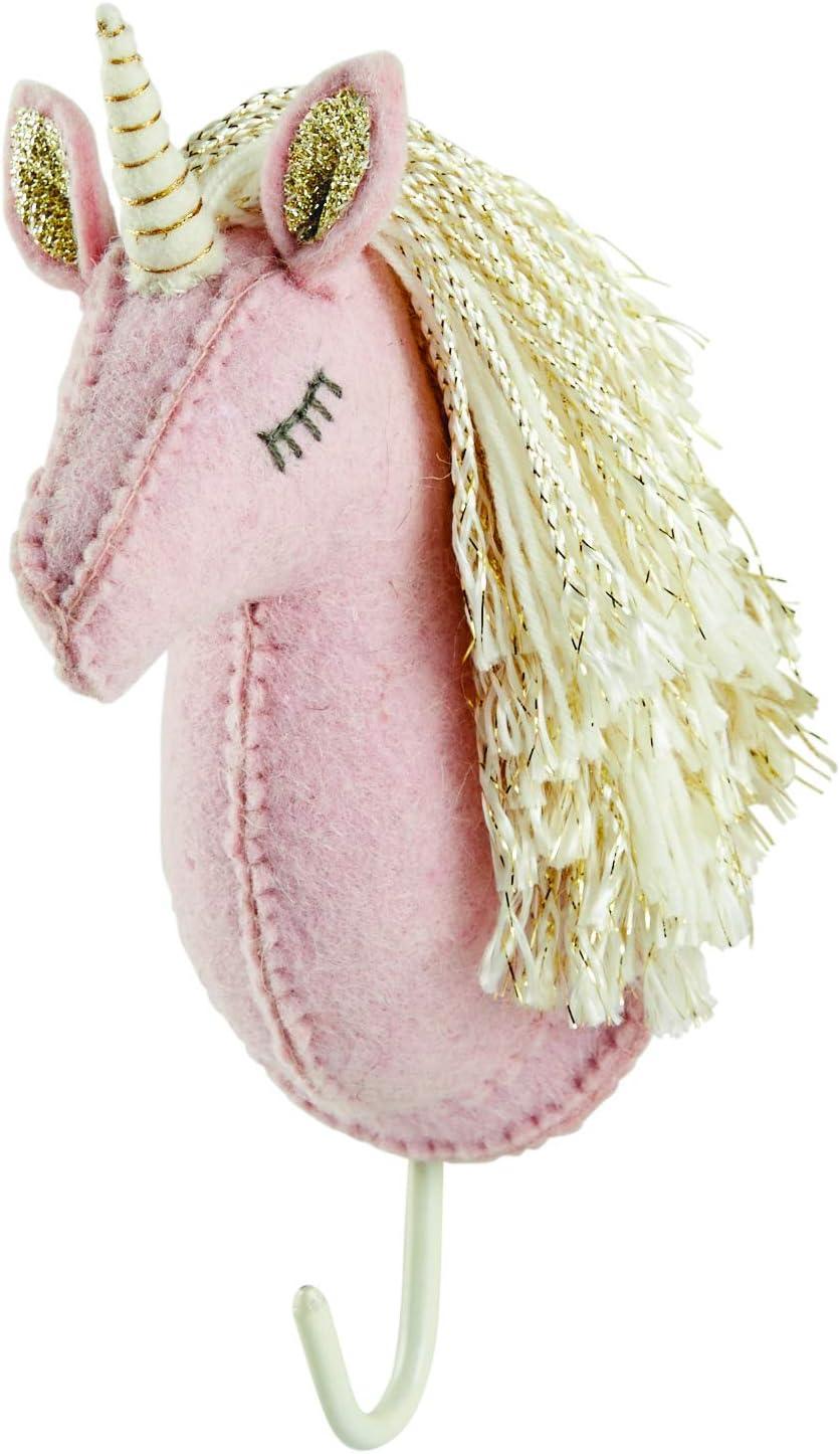 Mud Pie Baby Girl Nursery Decor Mount Hooks Unicorn Wall Hooks (Cream Horn)