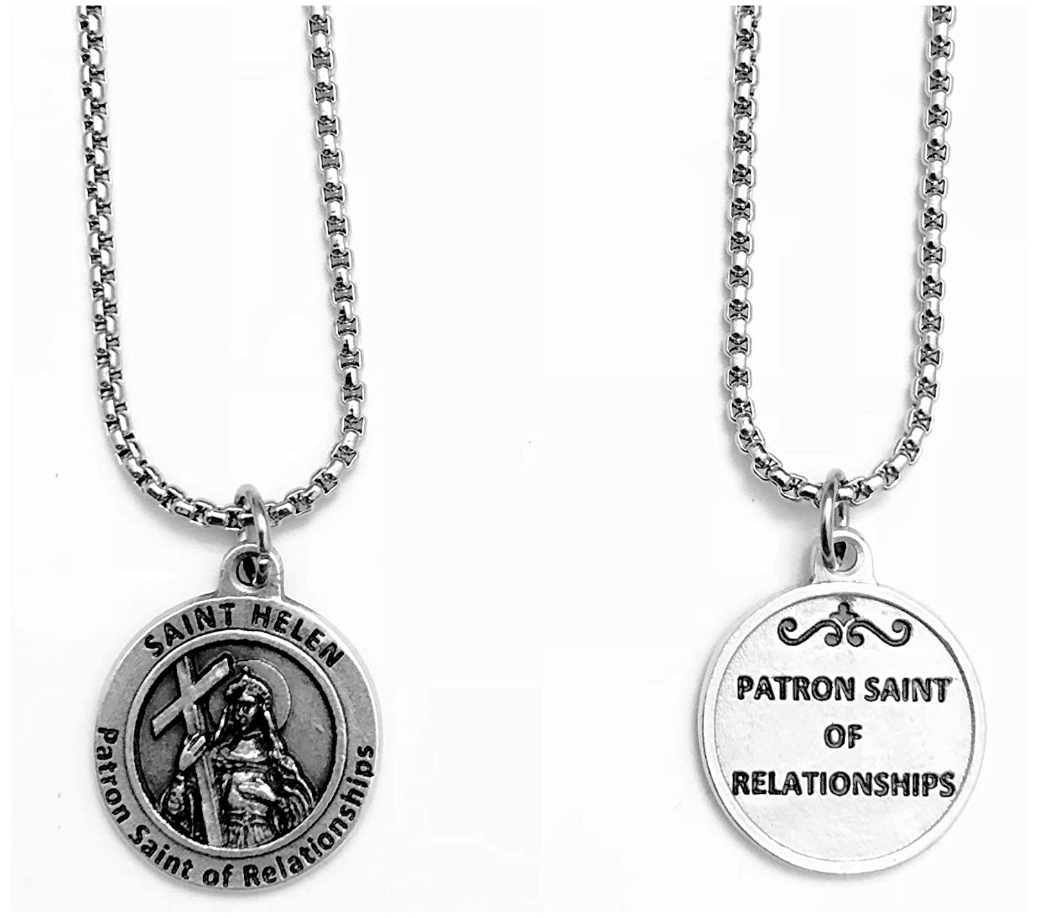 KarmaArm St Miracle Medal Jewelry Patron Saint of Relationships Helen Necklace