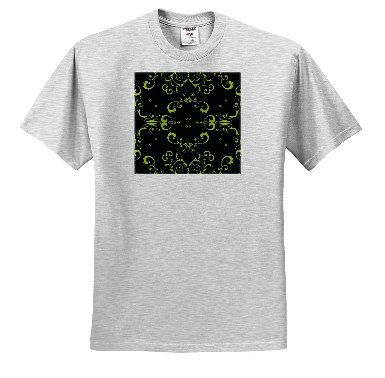 Seamless Black and Green Floral Design Tribal Graphic 3dRose Sven Herkenrath Art T-Shirts