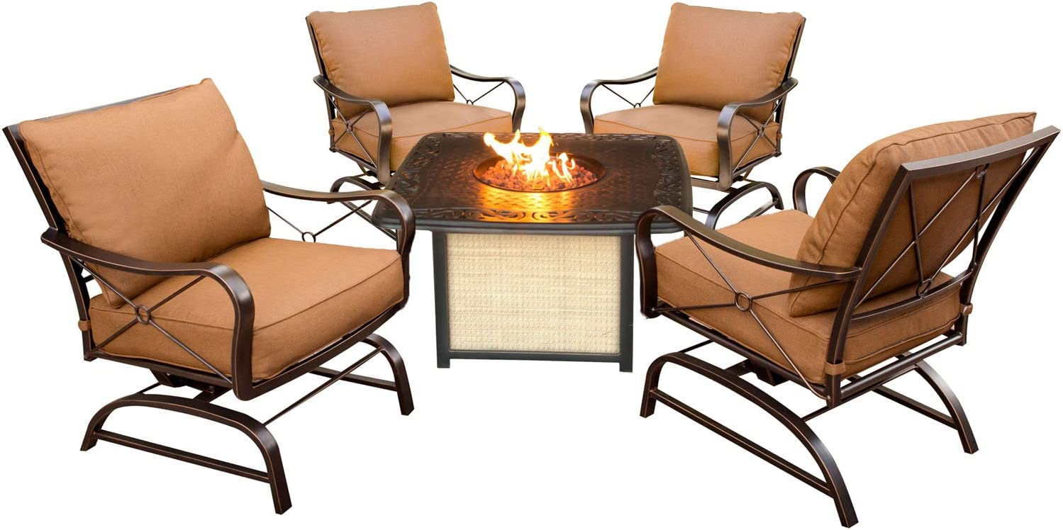 Hanover SUMMRNGHTCAST Summer Nights 5 Piece Conversation Set with Cast-Top Fire Pit Table Patio Outdoor Furniture, Red