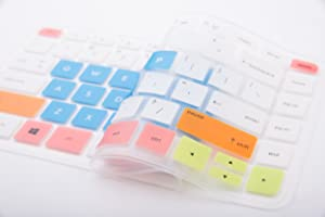 Leze - Ultra Thin Silicone Keyboard Skin Cover for HP Stream 13-c 14-z Notebook Series,Such as 13-c002dx,13-c010ca,13-c010nr,13-c020ca,13-c030nr,13-c077nr,14-z010nr - White Blue
