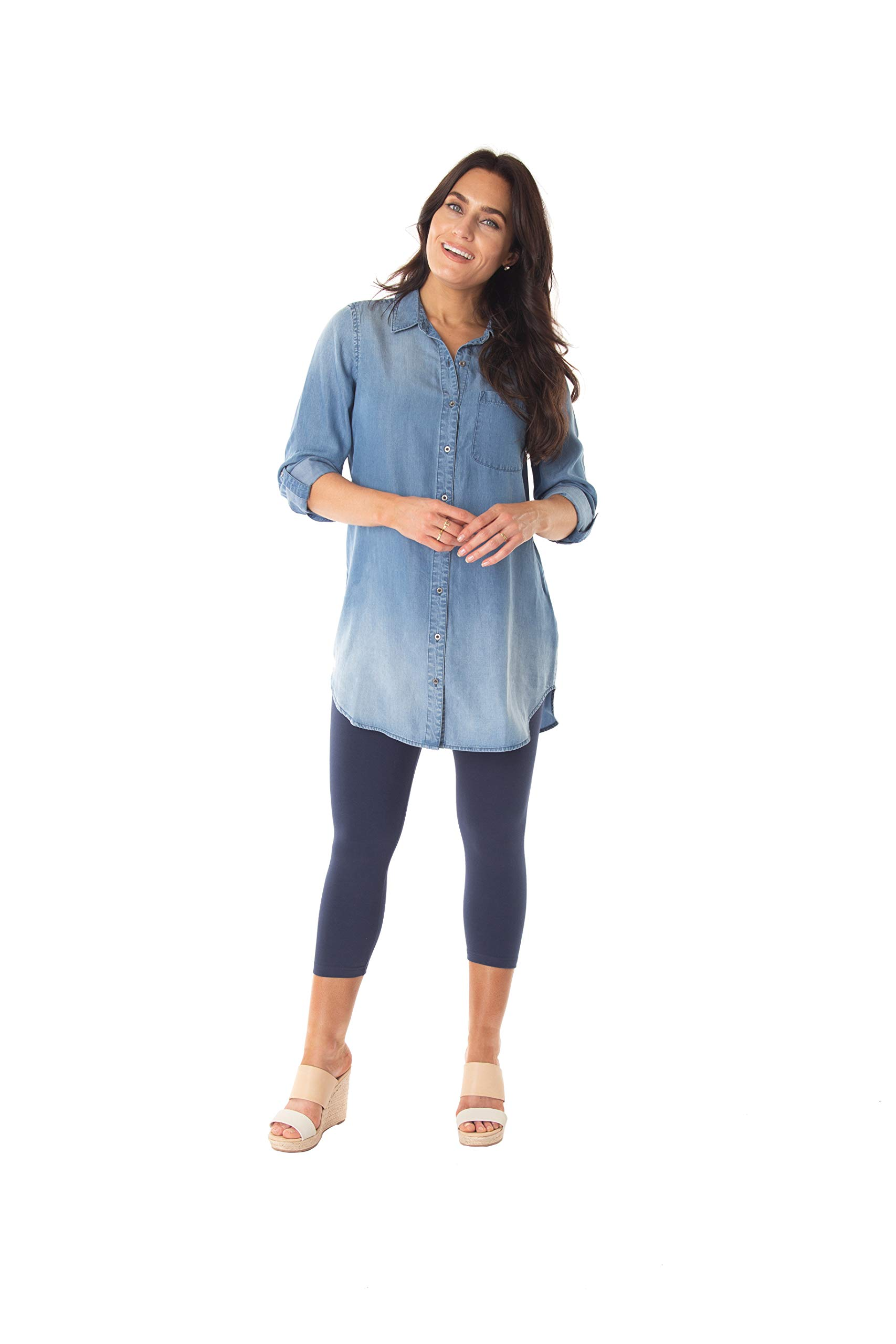 INTRO. Women's Lyocell Denim Convertible Roll Tab Sleeve Collared Split Neck Button Down Tunic Shirt Medium by INTRO.