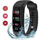 HDTOSNER Fitness Tracker, IP68 Reloj Inteligente Impermeable con Monitor de Corazón, Presión Sangre & Monitor de Oxígeno Actividad Tracker Deportes Pulsera para iPhone iOS/Android (Negro)