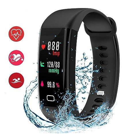 HDTOSNER Fitness Tracker, IP68 Reloj Inteligente Impermeable con Monitor de Corazón, Presión Sangre &
