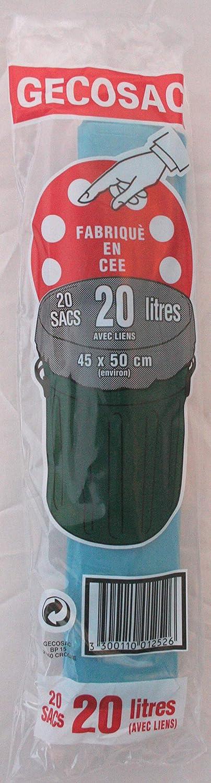 Universel 45 x 50 cm poly/éthyl/ène Gecosac Sacs Poubelle /à Fermeture par Lien dans Le Soufflet 20 L