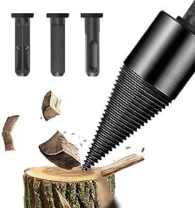 Wood Splitter Drill Bit 3 pcs, Firewood Drill Bit Wood Splitter, Removable Log Splitter Drill Bit for Hand Drill Stick (hex+Square+Round)