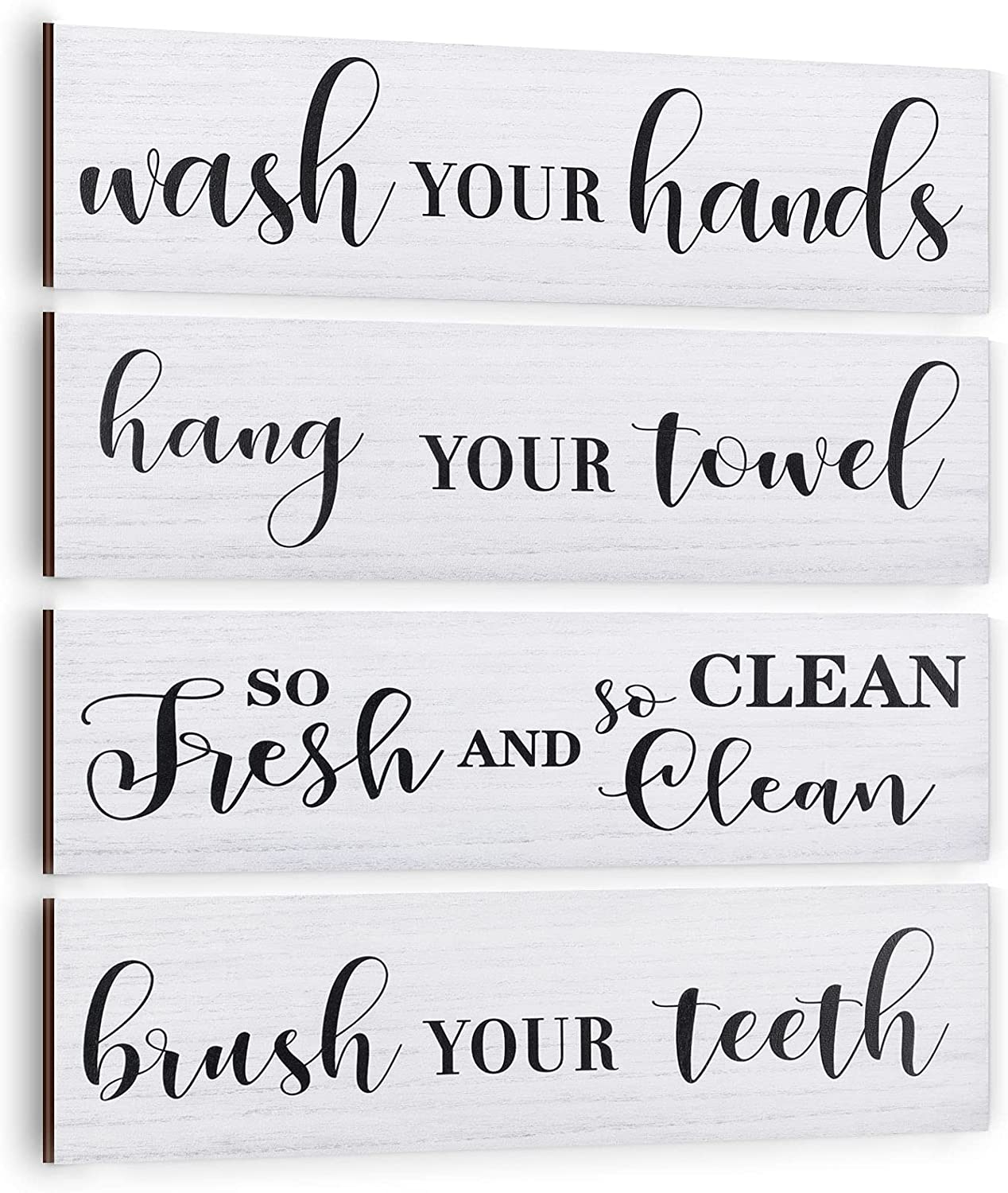 Jetec 4 Pieces Bathroom Wall Sign Wooden Wash Your Hand Brush Your Teeth Bathroom Sign Decor Rustic Vintage Wood Hanging Bathroom Wall Rules Sign Plaque for Farmhouse Home Laundry Bathroom Decoration