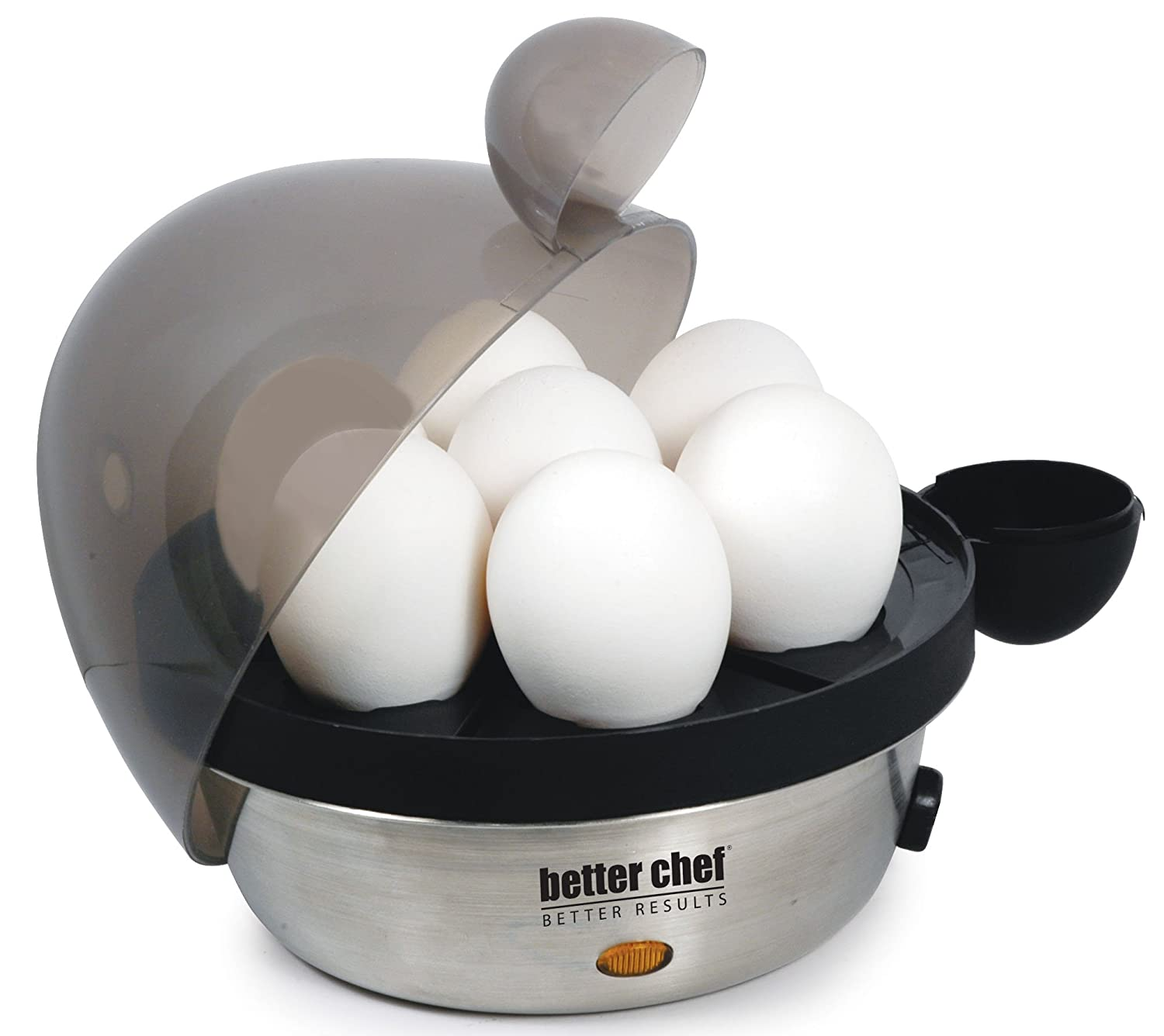Better Chef IM-470S Stainless Steel Electric Egg Cooker | Boil up to 7 Eggs in a Matter of Minutes | Removable Cool Touch Tray | Durable Stainless Steel Base | See-Through Lid