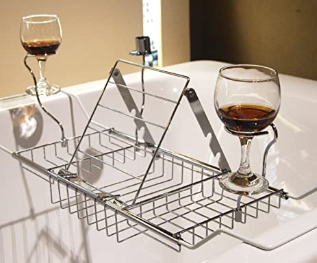 MelonBoat Expandable Bathtub Caddy Tray With Reading Rack And Wine Glass  Holder, Chrome Max 34