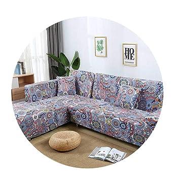 Amazon.com: ZFADDS New L Shaped Sofa Cover Elastic Blue Sofa ...