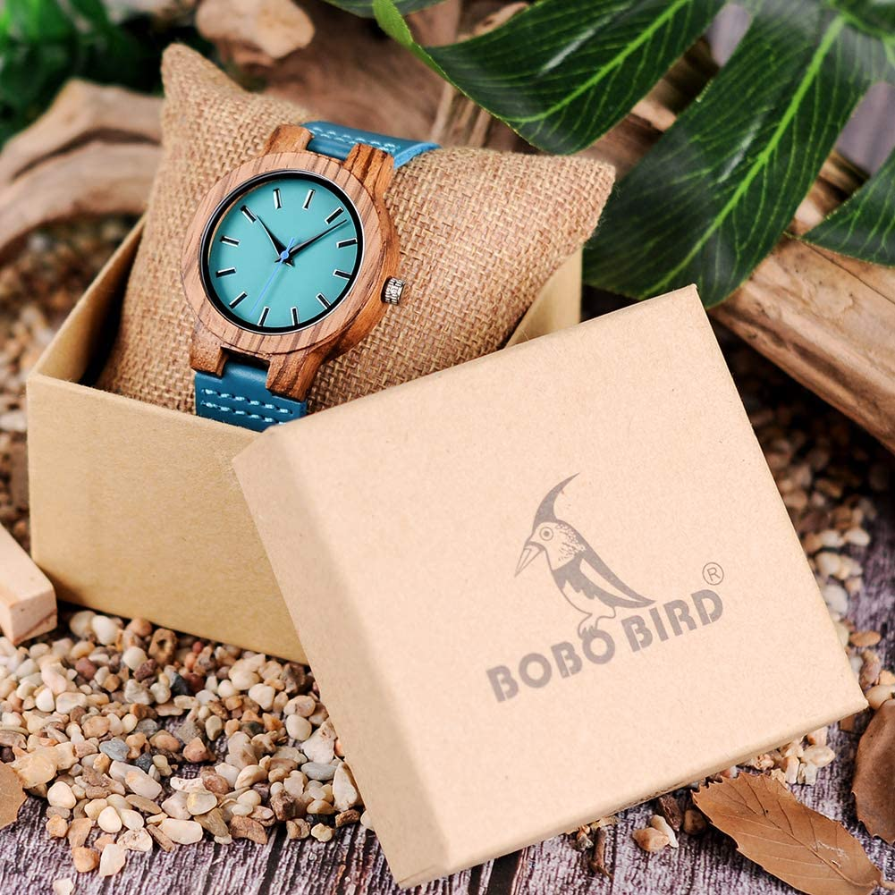 BOBO BIRD Mens Women s Bamboo Wooden Watch with Blue Cowhide Leather Strap Casual Watches for Love Gift with Box