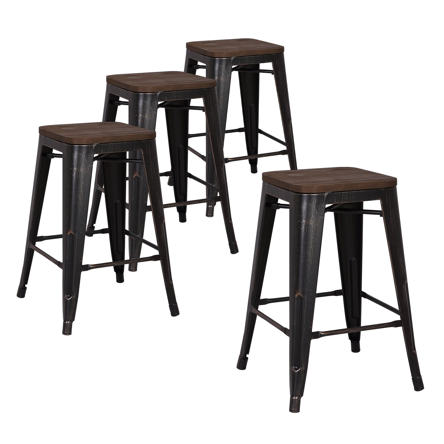 Details About Lch 30 Metal Industrial Counter Height Bar Stools Set Of 4 Backless