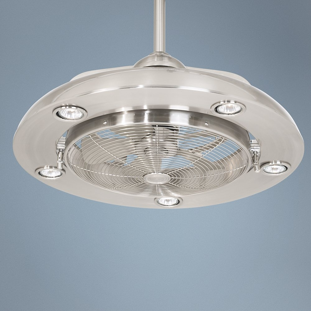 Possini Euro Segue W Brushed Nickel Light Ceiling Fan - Kitchen light and fan