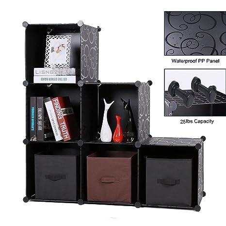 Storage Cube Organizer Plastic 6-Cube DIY Modular Storage Cabinet Portable  3-Tier Bookcase Shelf Closet, Black with Wood Hammer