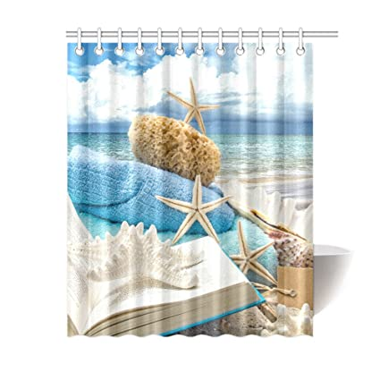 Amazon Outlet Seller Custom Leisure Beach Time Fabric Shower
