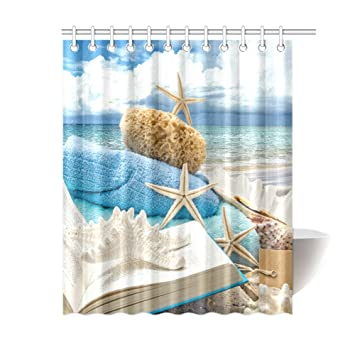 Outlet Seller Custom Leisure Beach Time Fabric Shower Curtain 60quot