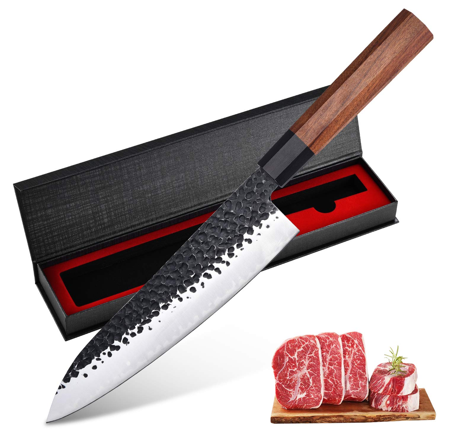 8 Inch Chef Knife Professional Japanese Chef Knife 3 layers 9CR18MOV Clad Steel Japanese Kitchen Knives Gyuto Knife Sushi Knife for Kitchen