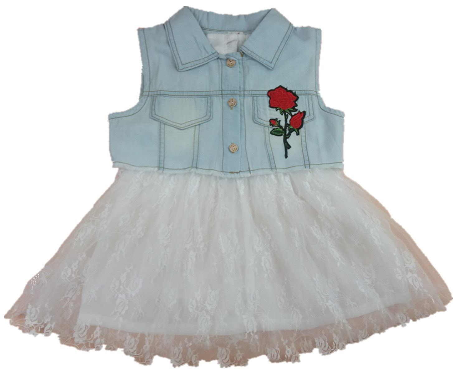 ESIINOY Girls Denim Floral Vest Outfit with Lace Chiffon Dress 2PCS