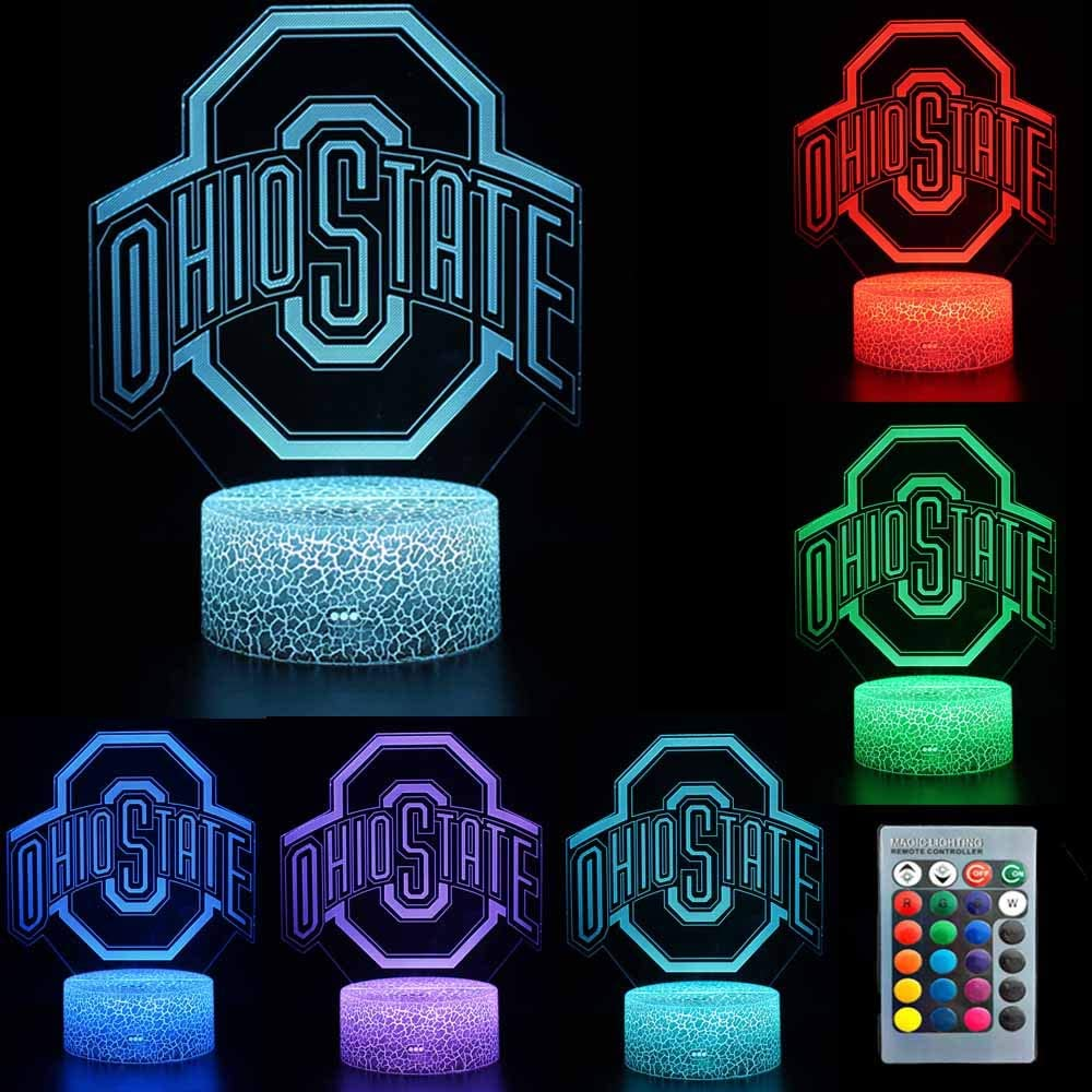 TEBOCR NCAA Ohio State University Team Logo 7 Color Change Decor Lamp Desk Table 3D Illusion Night Light