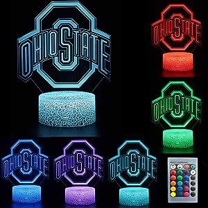 TEBOCR NCAA Ohio State University Team Logo 7 Color Change Decor Lamp Desk Table 3D Illusion Night Light