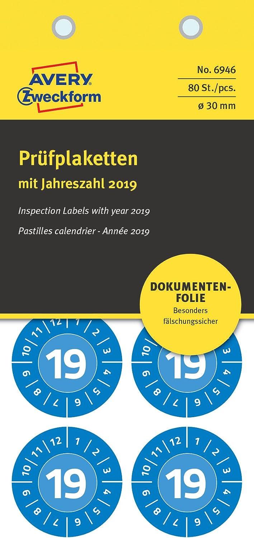 Avery España 6946 - Pack de 10 hojas de sellos adhesivo, 30 mm, color azul: Amazon.es: Oficina y papelería