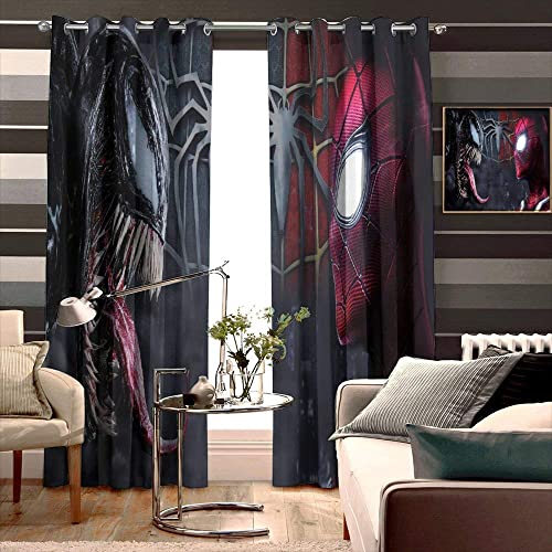 Curtains for Living Room Bedroom Spiderman-and-venom-4k-af Tie Up Shade for Small Window Width 274cm x HIGH 214cm