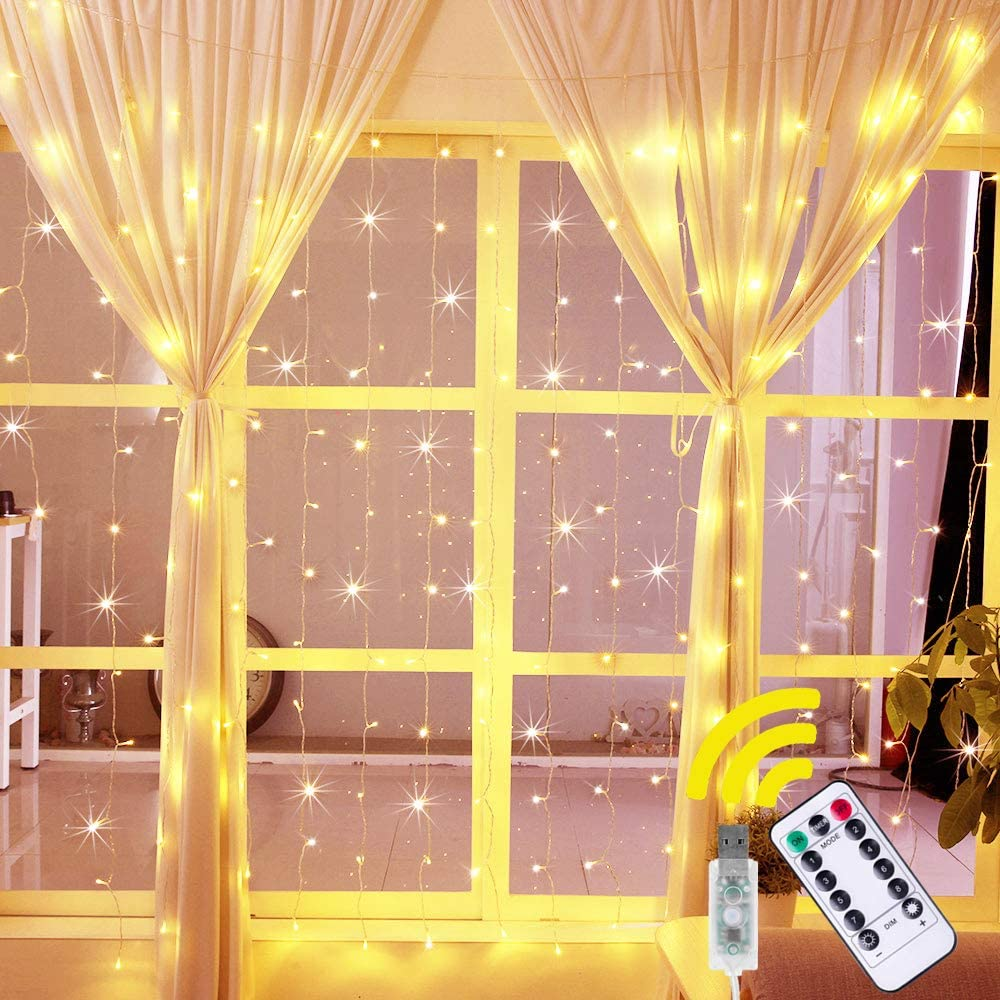 LED Curtain Lights 8 Modes Battery Operated Window Fairy Lights Remote 200 LED