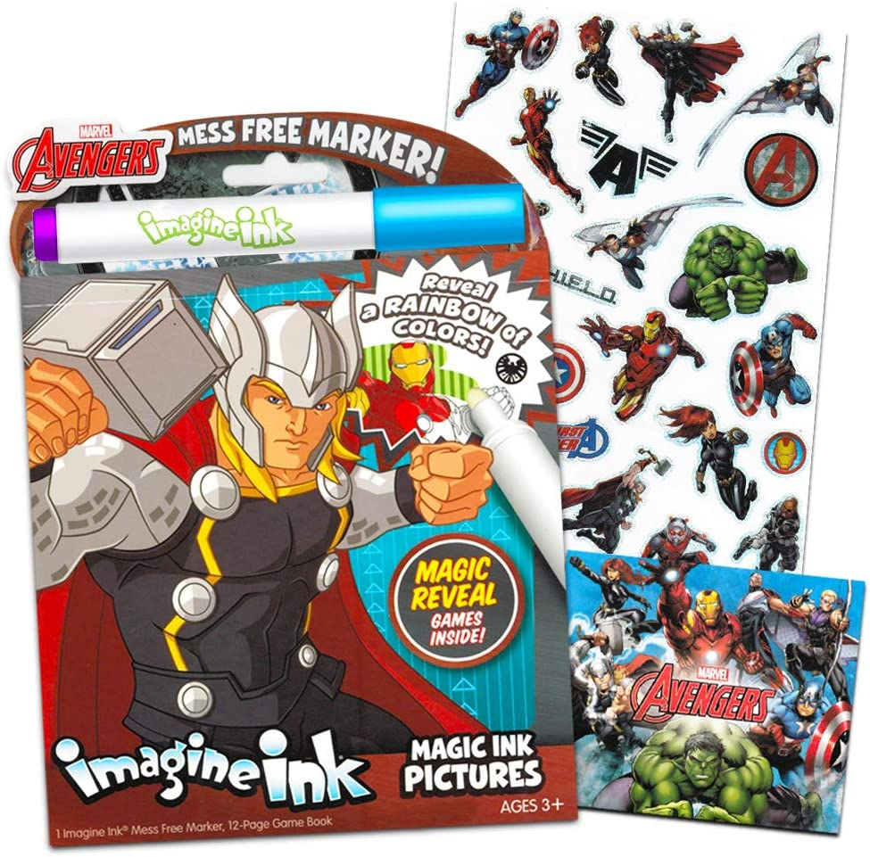 Marvel Avengers Imagine Ink Coloring Book with Mess-Free Marker and Stickers (No Mess Coloring Book for Kids Toddlers)