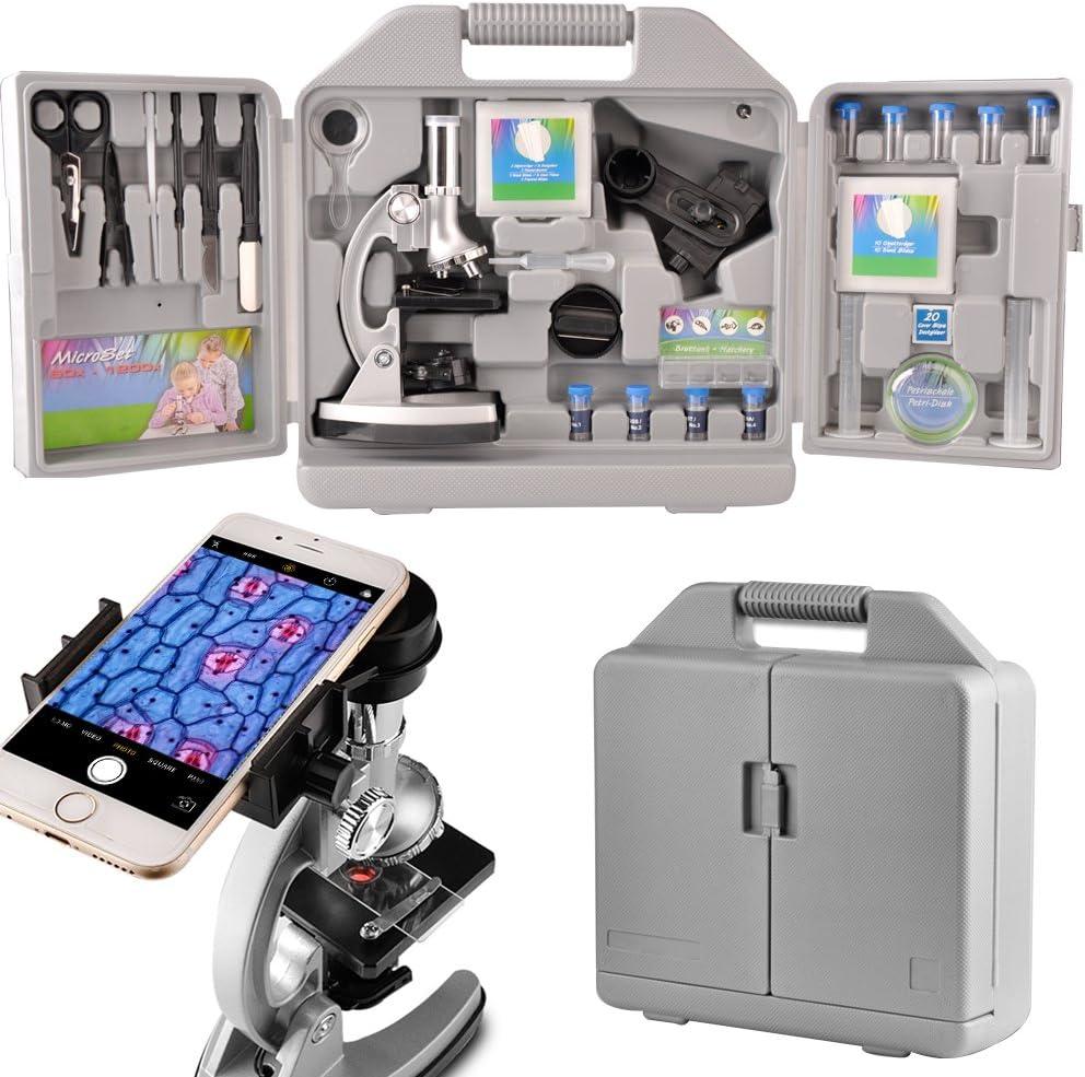 Moutec Sistema de microscopio educativo para niños, 300 x 600x ...