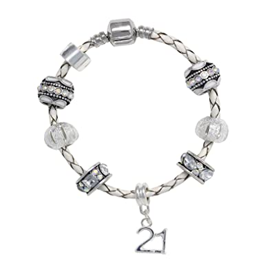 dd1505e2bc2 Truly Charming 21st Birthday Leather Charm Bracelet European Style Gift  Boxed (21st)