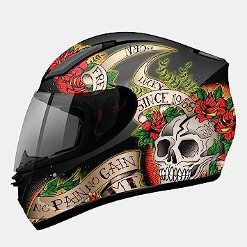 MT - Casco Integral Revenge Skull & Rose Negro/Rojo ...